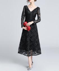 Black lace V-neck midi dress