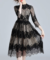 Black lace high-neck contrast dress