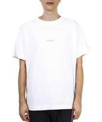 White pure cotton text T-shirt