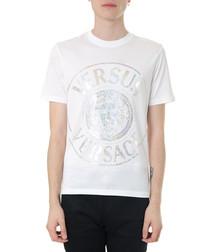 White & foil pure cotton logo T-shirt