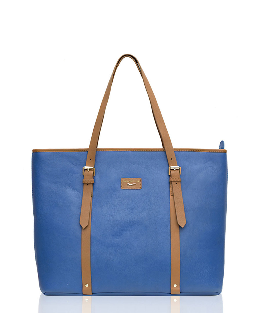The Signage blue leather tote bag Sale - Paul Costelloe