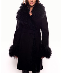 Women's black lambskin coat