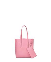 Pink leather shopper bag