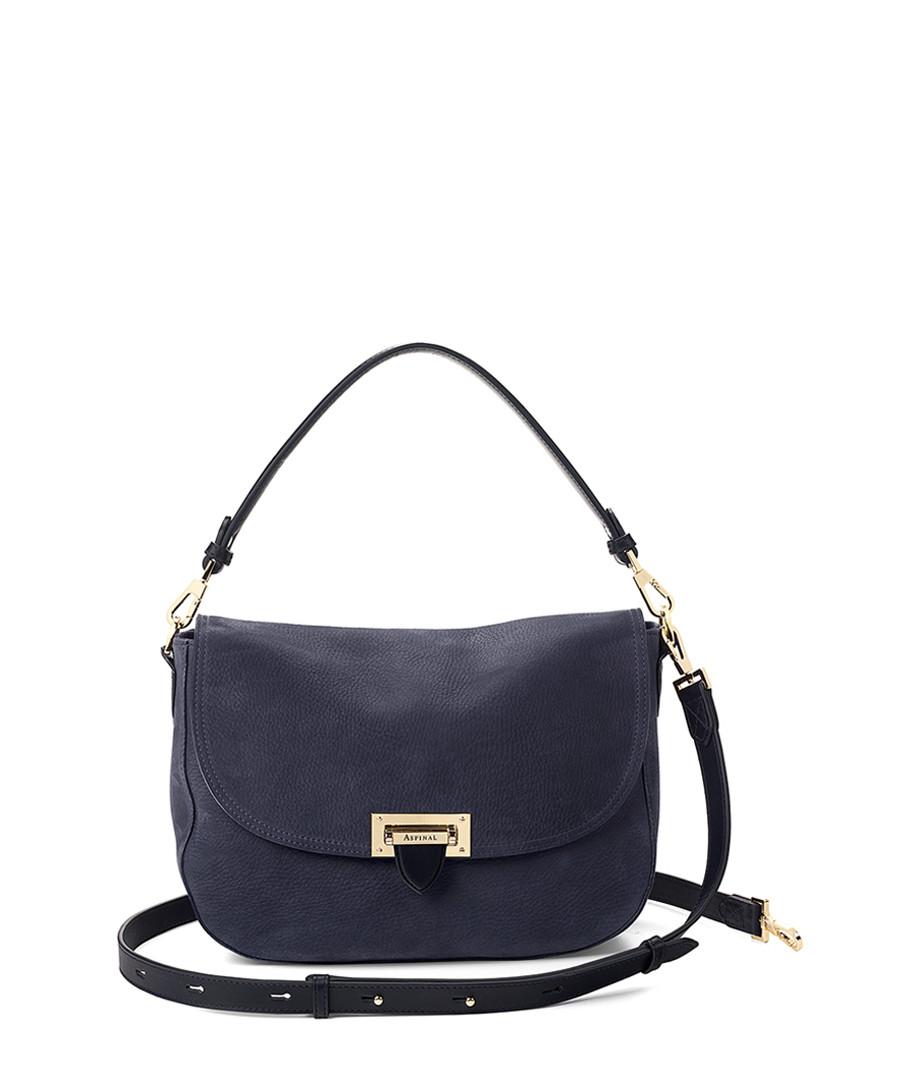 Navy nubuck leather strap grab bag Sale - Aspinal of London