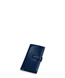 Navy blue leather clasp purse