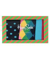 3pc Men's multi-colour gift socks set