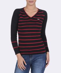 Black & red pure cotton stripe jumper