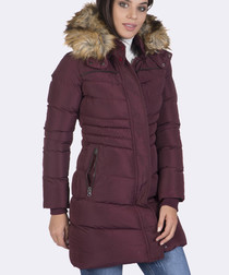Plum padded parka coat
