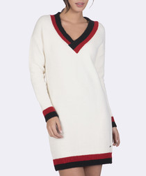 Ecru V-neck jumper dress