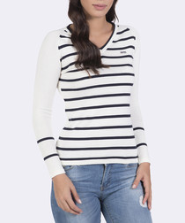 Ecru & navy pure cotton V-neck jumper