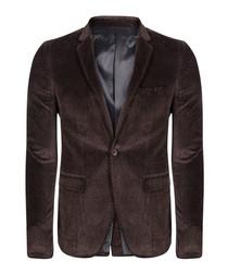 Brown velvet one-button blazer