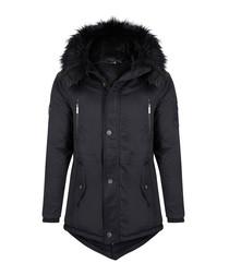 Navy cotton blend parka jacket