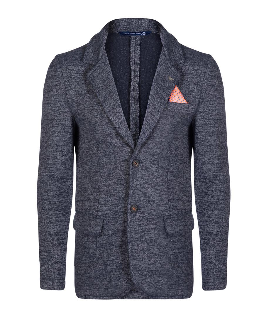 Navy cotton blend texture blazer Sale - giorgio di mare