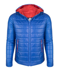 Sax & red padded hooded jacket