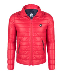 Red padded zip jacket