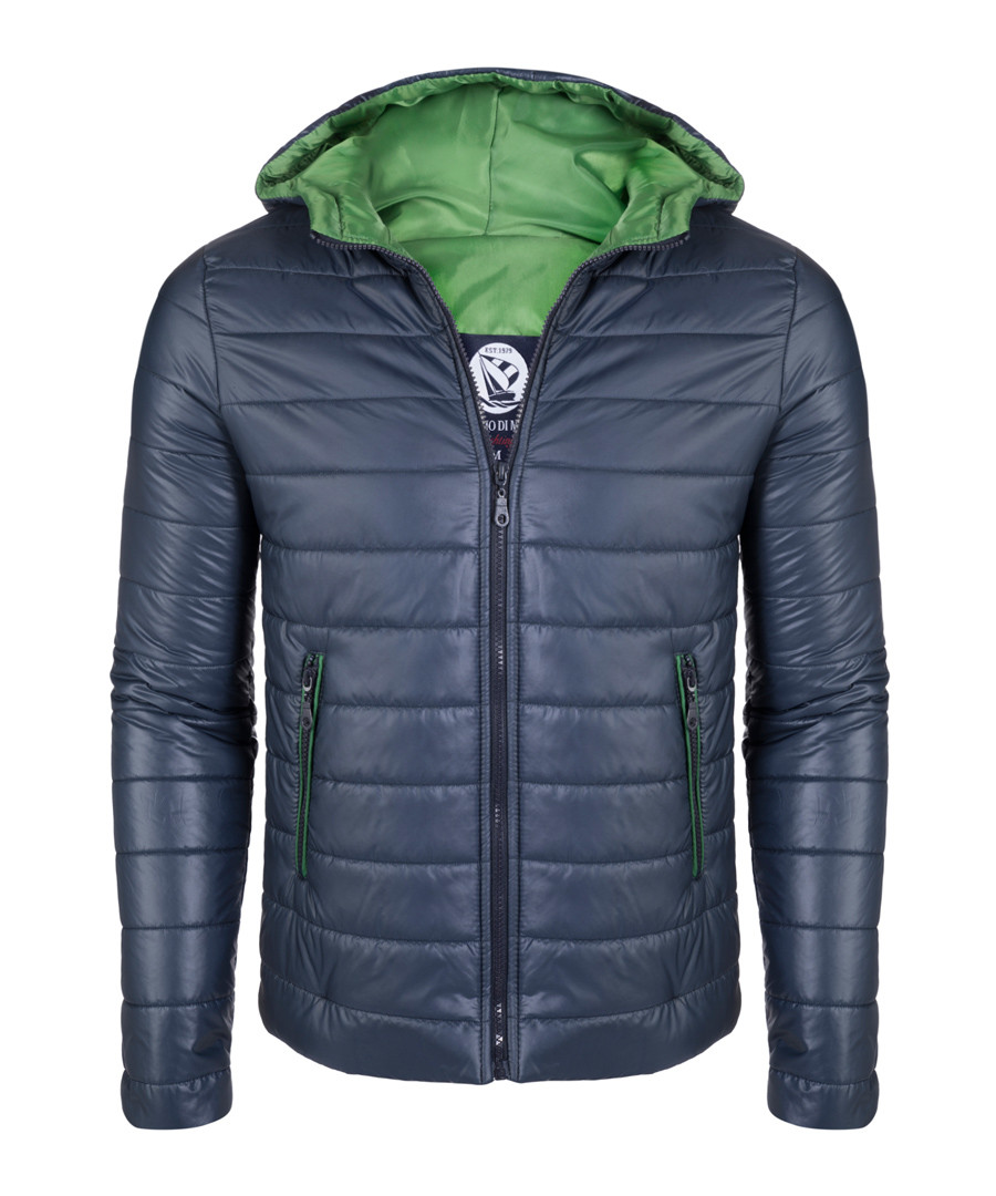 Navy & green padded hooded jacket Sale - giorgio di mare