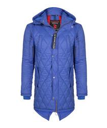 Indigo quilt hooded coat