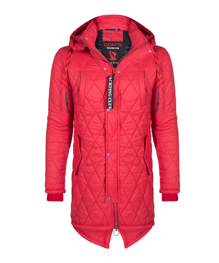 Red quilt hooded coat Sale - giorgio di mare