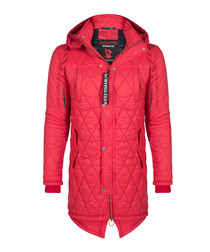 Red quilt hooded coat