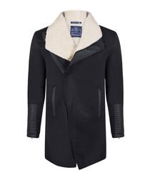 Navy cotton blend & fleece wrap jacket
