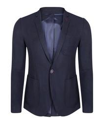Navy pure cotton one-button blazer