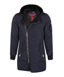 Navy wrap zip hooded jacket