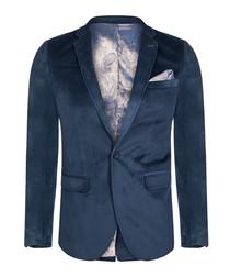 Navy velvet one-button blazer