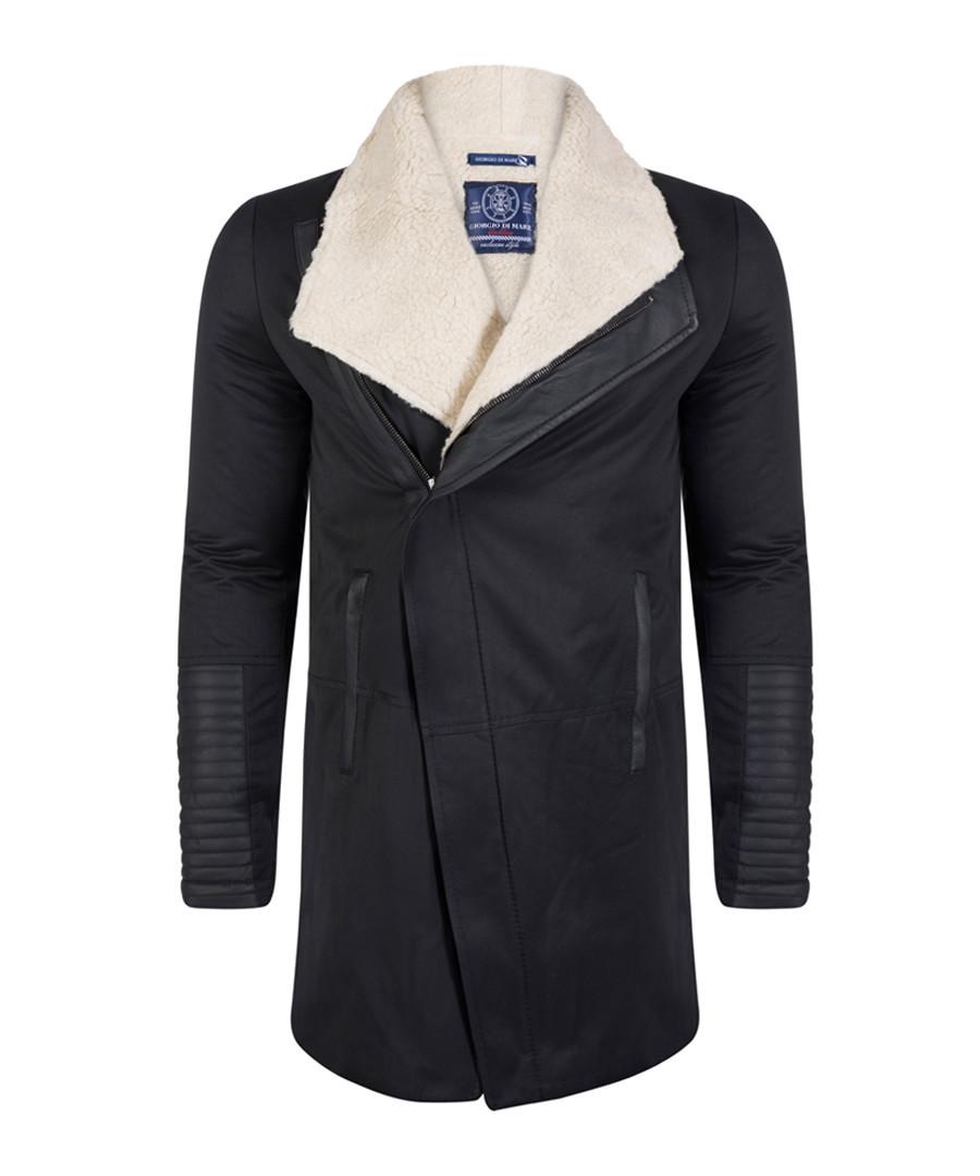 Black cotton blend fleece-collar jacket Sale - giorgio di mare