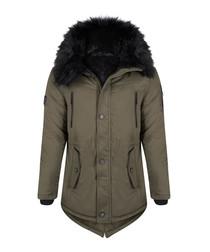 Khaki cotton blend parka coat
