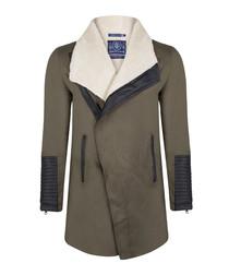 Khaki cotton blend fleece wrap jacket