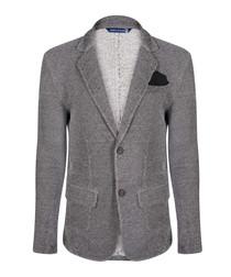 Grey cotton blend two-button blazer