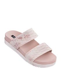 Baja pale pink snake-effect sandals