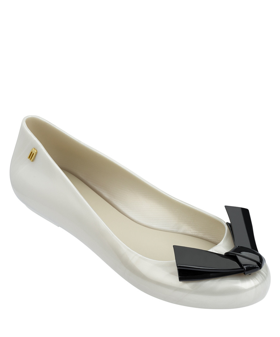 Space Love pearl white bow ballet pumps Sale - melissa