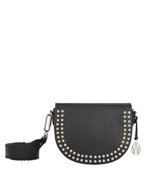 Cooper black leather studded cross body