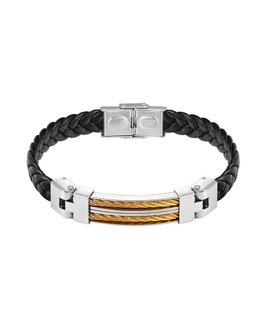Gold & silver-plated leather bracelet Sale - stephen oliver