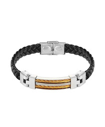 Gold & silver-plated leather bracelet