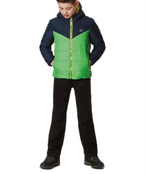 Kids' green padded hooded jacket