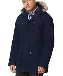 Men's navy full-zip parka coat