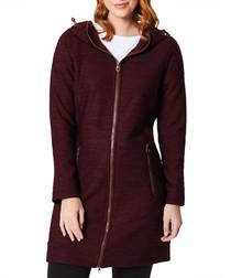 Women's burgundy zip hoodie