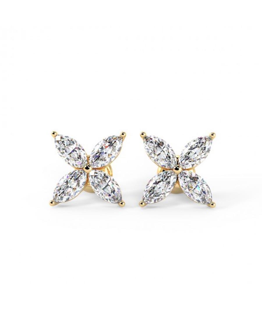0.4ct marquise diamond & gold earrings Sale - Buy Fine Diamonds