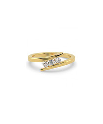0.25ct diamond trio & 9k gold ring
