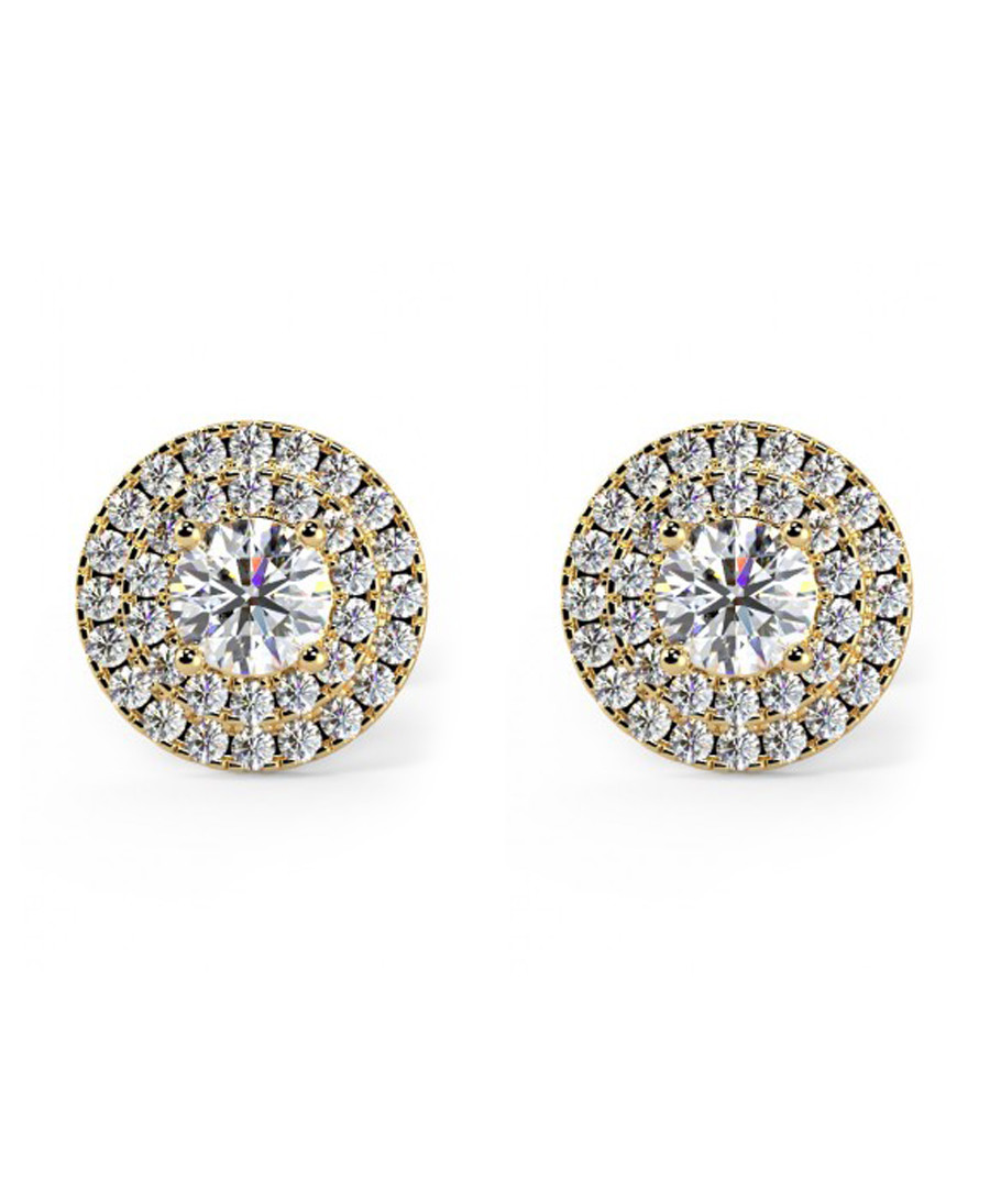 0.6ct diamond & yellow gold halo studs Sale - Buy Fine Diamonds