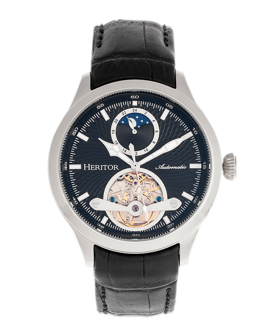 Gregory steel & black leather watch Sale - heritor automatic
