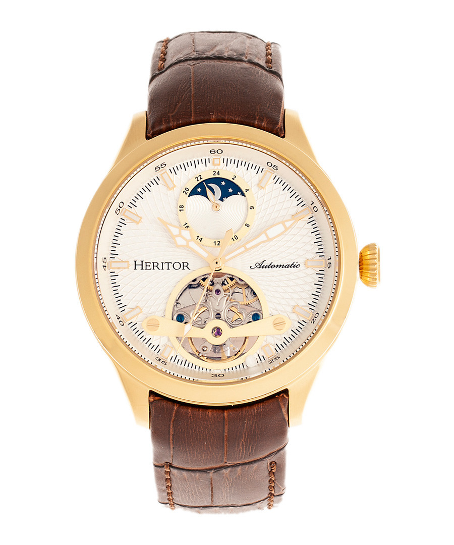 Gregory gold-tone & brown leather watch Sale - heritor automatic