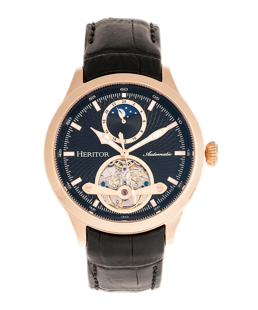 Gregory rose-tone & black leather watch Sale - heritor automatic