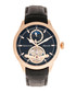 Gregory rose-tone & black leather watch Sale - heritor automatic Sale