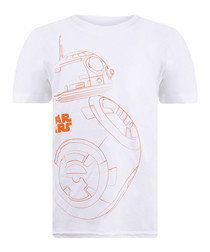 Kids' BB8 white & orange cotton T-shirt