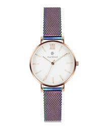 White & rainbow steel mesh watch