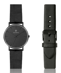 Blackout steel mesh & leather watch