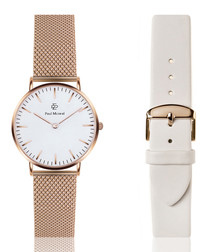 rose gold & white metal alloy & stainless steel & leather watch